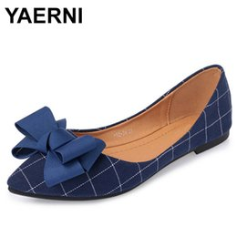 Discount blue pointed bow flats - YAERNISpring Ballet Flats Sweet Bow Plaid Loafers SlipOn Cotton Fabric Shoes Comfort Women FlatShoes Sexy Pointed Toe