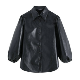 faux leather shirts NZ - Women Faux Leather Black Shirts New Arrival Lantern Sleeve Vintage Female Oversize Blouses Loose Solid Tops
