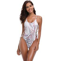$enCountryForm.capitalKeyWord UK - Womens Padded Swimsuit Push Up Bikini Sexy Side Straps One Piece Swimwear Halter Scoop Neck Bathing Suit Butterfly Palm Printing Beachwear