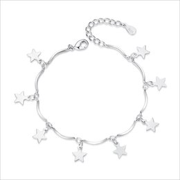 Cute korean braCelets online shopping - Simple and cute butterfly ladies bracelet Korean sweet and lovely five pointed star bracelet New fashion silver plated silver jewelry