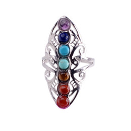 $enCountryForm.capitalKeyWord Australia - Seven Chakra Gemstone Ring Healing Adjustable Thumb Aura Gem Ring
