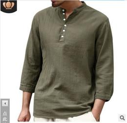 21543b714cec 2019 Brand new Polos Jacket coat S-3XL Pure half-sleeve V-tie buttoned cotton  linen Men s shirts T-shirt