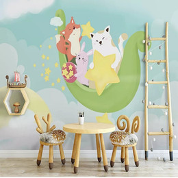 tv cartoon cat Australia - Custom large mural 3D wallpaper Nordic cartoon fashion creative cat moon child room mural TV back wall decor deep 5D embossed