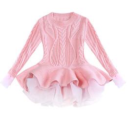 c08563236 Las niñas de punto suéter jerseys de invierno de ganchillo tutu vestido  tops toddler clothes 3-9Y niños otoño primavera carta de algodón