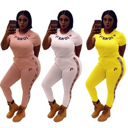 Pink Clothing Women UK - FF Women Clothing 2 Piece Set Tracksuits FENDS Short Sleeve T-shirt + Striped Pants Brand Streetwear Outfits Designer Fitness Suit 3XL C6503