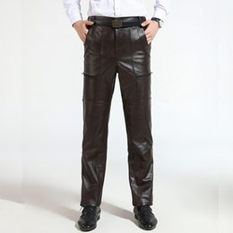 6dd4a33d1cfe Brown Mens Luxury Cowskin Real Leather Trousers Plus Size Loose Genuine  Leather Pants Man Zipper Cowhide Motorcycle Riding Pants