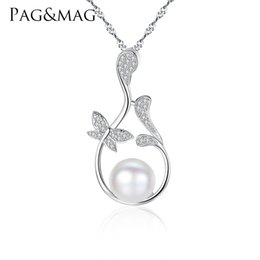 Necklaces Pendants Australia - PAG&MAG Butterfly Flowers Pendant Chain Necklace Micro Paved Zircon Stone Natural Pearl Jewelry Necklace for Women Wedding Gift