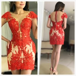 $enCountryForm.capitalKeyWord Australia - Cap Sleeves Lace 2019 Homecoming Dresses Sheer Neck Beaded Graduation Dresses Short Sheath Party Cocktail Bridesmaid Gowns ZJ533