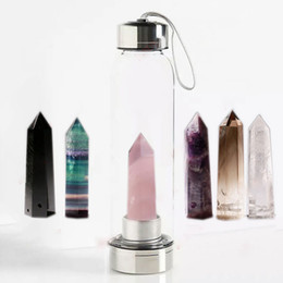 Crystal ropes online shopping - Crystal Quartz Gemstone Water Bottle Natural Crystal Quartz Water Bottle Obelisk Crystal Glass Healing Bottle Glass