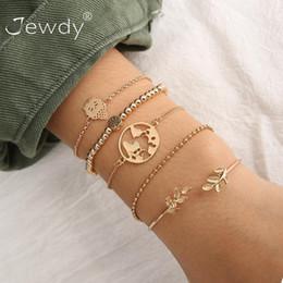 $enCountryForm.capitalKeyWord Australia - 5 Pcs set Fashion Bohemian Buddha Leaf Earth Map Cuff Gold Chain Charm Bracelet Bangle For Women Gold Bracelets Femme Jewelry