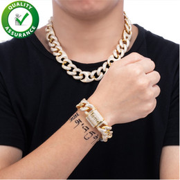 Discount african brass bangle Iced Out Chains 18mm Designer Necklace Cuban Link Luxury Hip Hop Jewelry Men Bracelet Bling Diamond Bangle Gold Plated C