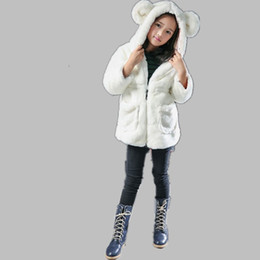 Wholesale Faux Fur Coat Kid Autumn Winter Cute Cartoon Animal Ear Hooded Jackets Warm Clothes Luxury For Baby Girls Parka N134