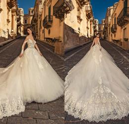 $enCountryForm.capitalKeyWord Australia - 2020 Julia Kontogruni Vintage Wedding Dresses Bead Jewel Neck Lace Appliqued Long Sleeve Wedding Dress Court Train Custom Made Bride Gowns