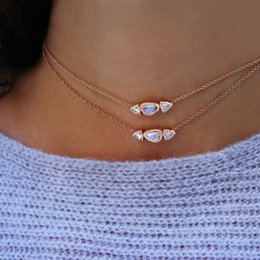Triple Chains NZ - Guarantee 100% 925 sterling silver gem stone necklace triple stones cz paved trendy choker chocker chain for women