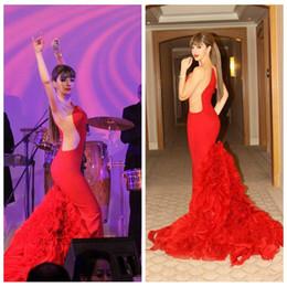 Discount celebrity designer dresses images - 2019 Custome Myriam Fares Sheer Mermaid Prom Dresses Slim Ruffles Floor Length Mermaid Evening Dresses Designer Celebrit