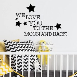 Stickers New Baby Australia - We Love To The Moon And Back Quote Wall Decal, Baby Nursery Wall Stickers For Kids Rooms, Vinyl Wall Decor Q246