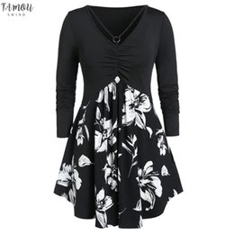 Women Dress Plus Size Fashion Women O-Neck Long Sleeve Floral Printed Ruched Tops Elegant Evening Party Blouse Dress #45