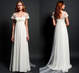 Boleros Champagne For Wedding Dresses NZ - Sheer Lace Bolero Cap Sleeves Wedding Dresses for Pregnant Women Empire Waist V-neck Illusion Back Elegant Beach Bridal Gowns