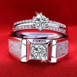 2019 новый горячий стиль популярной моды простые щедрые стерлингового серебра мужские кольца с платиновым покрытием открытые пары кольца чистый властный мужчины simul на Распродаже