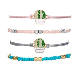 pink bangles set UK - Cute Prickly Pear Cactus Charm Rope Bracelets Bangles Pink Blue Beaded Colorful Rope Mutilayer Anklet Set For Wome 2019 Summer New Fresh