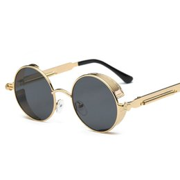 Round Mirror Wholesale Australia - Retro Steampunk Sunglasses Round Designer Steam Punk Metal Shields Sunglasses Men Women UV400 Sun Glasses Mirror Gafas de Sol