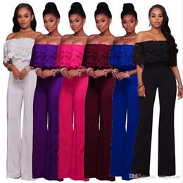 $enCountryForm.capitalKeyWord Australia - Temperament Commuter Fashion Loose Solid Color Lace Word Collar Straight Leg Wide Pants Side Zipper Casual Women's Jumpsuit