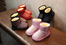 Shoes For Girls Winter Australia - New Arrival Bling Winter Snow Shoes for Girls Plush Toddler Boy Boots Kids Keeping Warm Baby Snow Boots Children Shoes