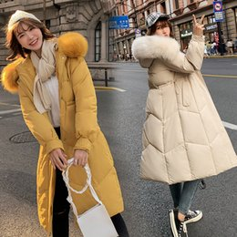 womens large winter down coats NZ - Warm Collar Nice Fur Women Winter Jacket Cotton Padded Warm Thicken Lady Coat Long Coats Parka Womens Jackets Large Size T191030