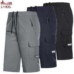Wholesale cargo shorts big men online – Men s Big Tall Cargo Shorts quick dry knee lenght XL XL male Bermuda Beach short slim for Breathable men joggers gym shorts Y200403