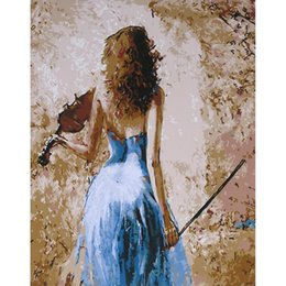 Violin Paintings Australia - Frameless DIY Digital Oil Painting 16 * 20'' Lady with Violin Hand-Painted Cotton Canvas Paint By Number Kit Home Office Wall Art Paintings