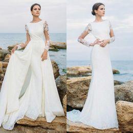 $enCountryForm.capitalKeyWord Australia - 2019 Long Sleeve Lace Wedding Dresses With Detachable Skirt Beach Jewel Neck Mermaid Bridal Dress Wedding Gowns