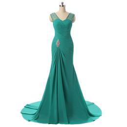 $enCountryForm.capitalKeyWord UK - Sexy Long Chiffon Mermaid Bridesmaid Dresses Cheap V-neck Floor Length Prom Dresses Floor Length Bridesmaid Beaded Wedding Party Dress