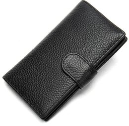 China New business long men's wallet litchi grain vintage leather wallet card bag suppliers