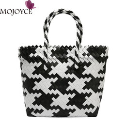 $enCountryForm.capitalKeyWord Australia - Female Fashion Straw Hit Color Weave Shoulder Handbag Women Top-handle Bag Casual Summer Beach PVC Shopping Tote torebki damskie