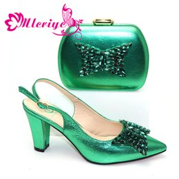 $enCountryForm.capitalKeyWord Australia - Latest Design Italian Designer Shoes and Bags Matching Set Decorated with Rhinestone Block Heel Shoes Shoes and Bags To Match