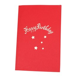 Paper Gift Envelopes UK - 3D Party Supplies Happy Birthday Paper Blessing With Envelope Gift Greeting Card Up Handmade Postcards Cake Anniversary DIY