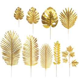 ArtificiAl flower for decorAtion tAbles online shopping - Gold Turtle Leaf Artificial Tropical Palm Leaves for Hawaii Luau Party Decorations Beach Theme Wedding Flower Table Decoration
