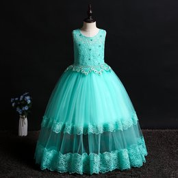 day wedding dresses Australia - Baby Girl Dresses Kids Girls Bridesmaid Wedding Dress Princess Teenagers Girls Flower Lace Rhinestone Halloween Children's Day Party Costume