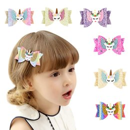 $enCountryForm.capitalKeyWord Australia - 8styles Elk Unicorn Clips Sequin Glitter Baby Girls Hair Bow Hairpin Girls Bowknot Barrette Kids Hair Boutique Bows Children gift