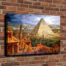 Discount ancient paintings art Ancient Egyptian Pyramids Canvas Wall Art Oil Painting Picture On Canvas Home Decor 190915