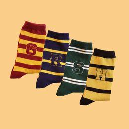 $enCountryForm.capitalKeyWord Australia - 4pair set Harry Potter Striped Socks Cotton Hogwarts Magic School Striped Word Hose Gryffindor Slytherin Ravenclaw Kids Couple Gifts HHA384