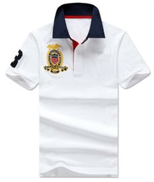 Tennis polo shirTs online shopping - Gift Men Casual Polo Shirt Big Pony Embroidery Solid Polos Homme Summer Cotton Golf Tennis Tees Menswear Jersey Clothes White