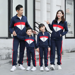 kids tracksuits sport suits NZ - Mother Father Kids Boy Girls Coat + Pants Suits Mom Dad Daughter Son Sports Clothing Sets 2020 Kids Tracksuit Family Match Outfits S631
