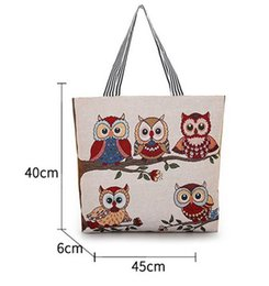 $enCountryForm.capitalKeyWord Australia - Designer Luxury Handbags Women Bags Jacquard Embroidered Lady Bag Owl Pattern Shopping Single Shoulders Canvas Style New Arrival Fashion Hot