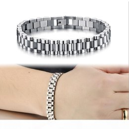cool silver watches NZ - Whosales-Mens Cool 10mm 21CM Silver 316L Stainless Steel Watch Band Bracelets Length Adjustable Mens Bangle Jewelry Gifts