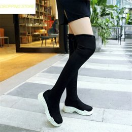 49163d4b340b Wedges Boots Over Knee NZ - Black Riding Boots Women Faux Suede Round Toe  Military Over