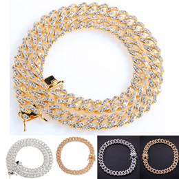 $enCountryForm.capitalKeyWord Australia - New Iced Out Bling Zircon Golden Finish Miami Cuban Link Chain Necklace Men's Hip hop Necklace Jewelry 7,8,16,18, 20 Inch