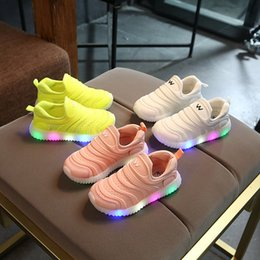 Glitter baby Girl online shopping - New European candy color soft LED lighted baby girls boys shoes slip in high quality toddlers glitter Cute baby sneakers