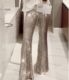 Wholesale sequin trousers for sale – dress Summer Women Sexy Bodycon Slim Shining Trousers Long Pants High Waist Bell bottomed Silver Sequins Flare Pants