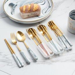 Wholesale metal steaks for sale – custom Marble Cutlery Set Marble Ceramic Handle Portable Stainless Steel Golden Dinnerware Set Steak Chopsticks Fork Spoon Set DHB27